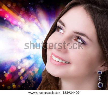Beautiful Face Young Woman. Holiday Fashion Girl Portrait