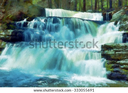 Beautiful Factory Falls - a waterfall located in the Poconos of Pennsylvania, transformed into a colorful pointillism style painting