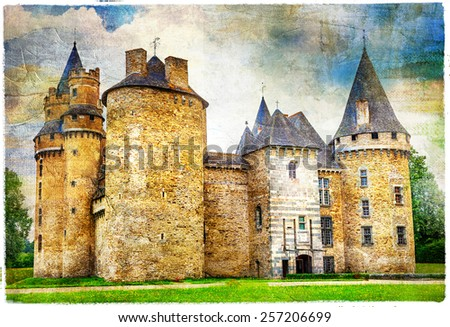 beautiful fairy castles of France , artistic picture, with texture - stock photo