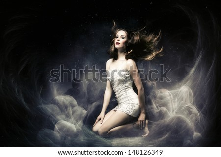beautiful fairy like fantasy woman  - stock photo