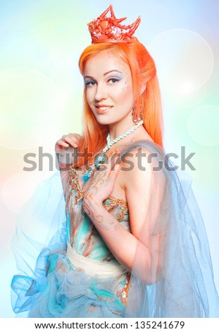 Beautiful fairy nymph - stock photo