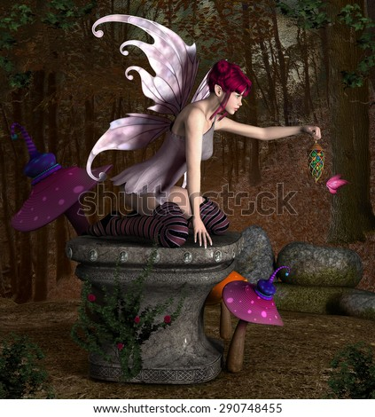Beautiful fairy sits on an old pedestal - stock photo