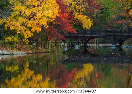 Beautiful Fall colors at Oak Bridge (Bank Rock bay), Central Park. New York City - stock photo