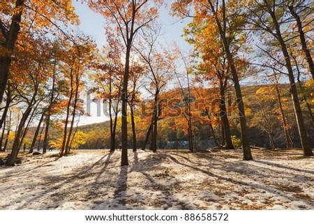 Beautiful Fall scenery in New York, USA. - stock photo