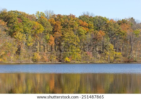 Beautiful fall trees reflect their colors on to fall lake, seasonal natural background