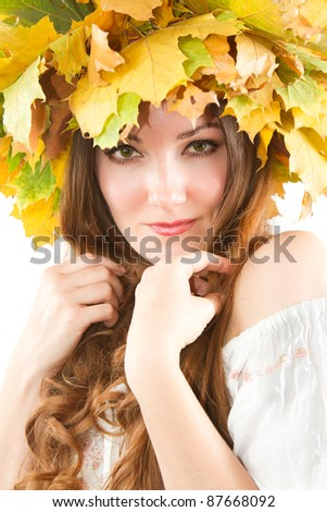 Beautiful fall woman. close up portrait of girl with  autumn wreath of maple leaves on the head on an isolated white background.