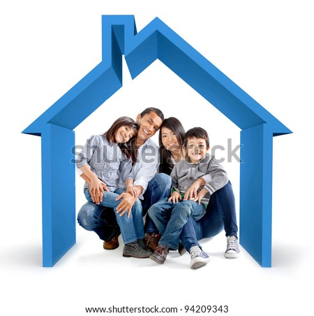 Beautiful family in a 3D house - isolated over a white background - stock photo