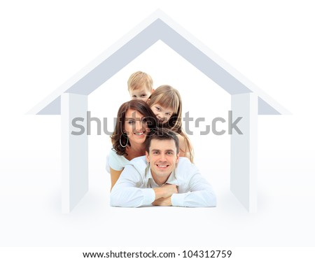 Beautiful family in a house - isolated over a white background - stock photo