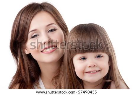 Beautiful family portrait. Isolated on white. - stock photo