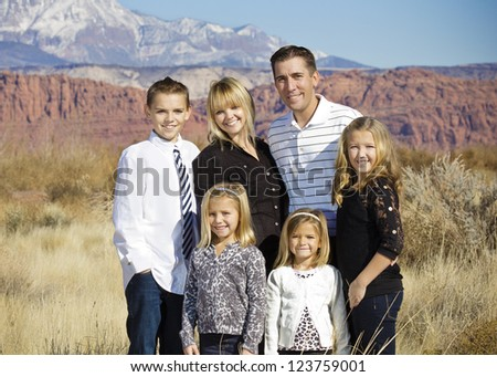 Beautiful Family Portrait Outdoors - stock photo