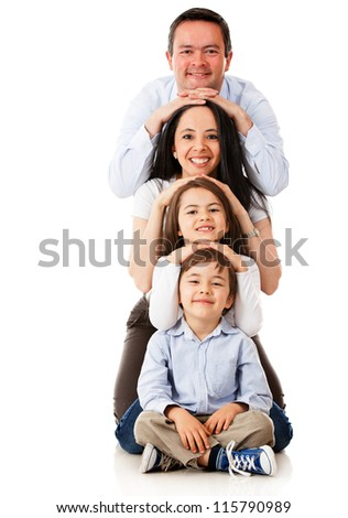 Beautiful family smiling - isolated over a white background