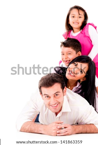 Beautiful family smiling together - isolated over a white background - stock photo