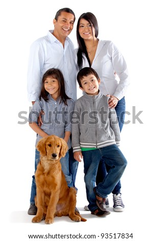 Beautiful family with a dog - isolated over a white background - stock photo