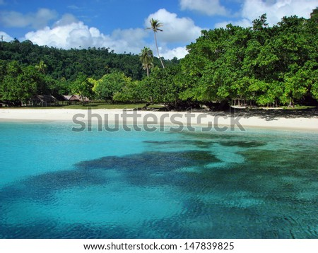 Beautiful, famous Champagne Beach, Vanuatu, South Pacific - stock photo