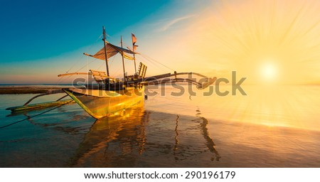 beautiful fantastic fairy sunset boat sea tropical nature background holiday luxury  resort island atoll about coral reef amazing - stock photo