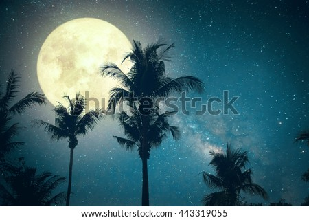 Beautiful fantasy palm tree tropical beach with Milky Way star in night skies, wonderful full moon - Retro style artwork with vintage color tone (Elements of this moon image furnished by NASA) - stock photo
