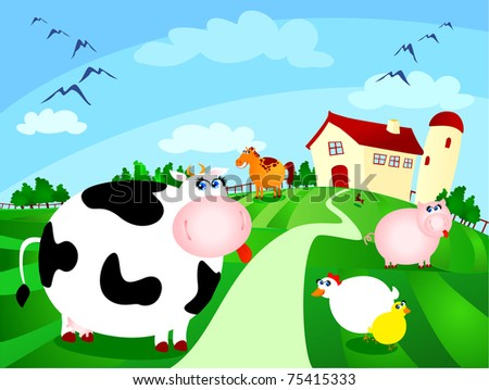 Beautiful farm surrounded by fields with grazing animals