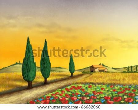Beautiful farmland at sunset. Original digital illustration. - stock photo