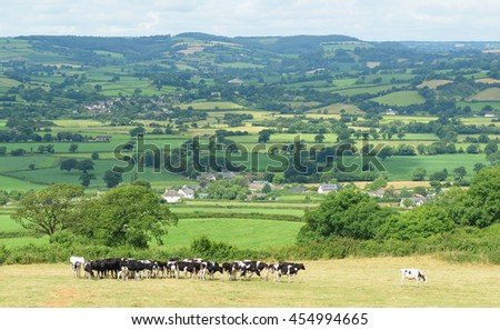 Beautiful farmland Axe Valley in East Devon, England - stock photo