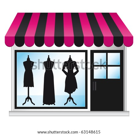 Beautiful fashion boutique with clothes in the shop window. - stock photo