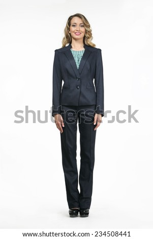 beautiful fashion business woman model in office suite - stock photo