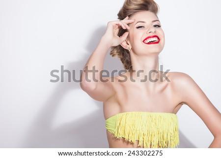 Beautiful fashion girl in swimsuit - stock photo