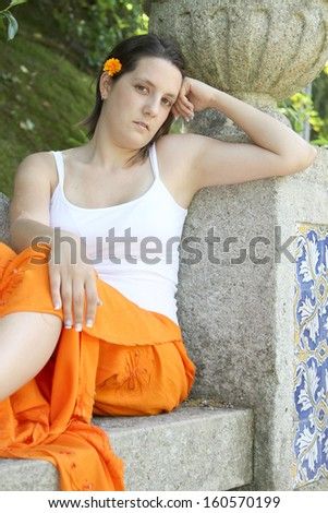 beautiful fashion girl photo, outside shoot - stock photo