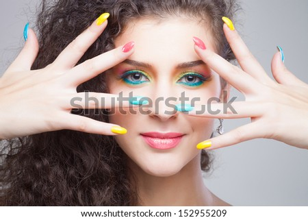 Beautiful Fashion Girl's Face. Make-up and Manicure.  - stock photo
