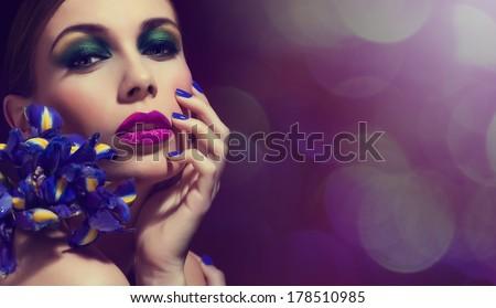 Beautiful Fashion Girl's Face. Makeup. Make-up and Manicure. Nail Polish. Beauty Skin and Nails. Beauty Salon - stock photo