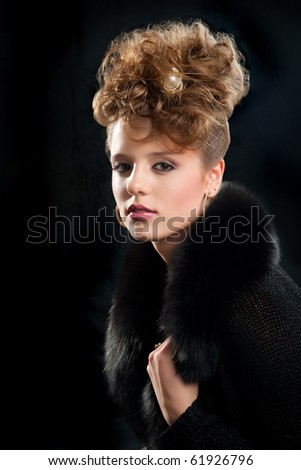 beautiful fashion girl with makeup and coiffure - stock photo