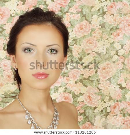 Beautiful fashion girl with summer makeup - stock photo
