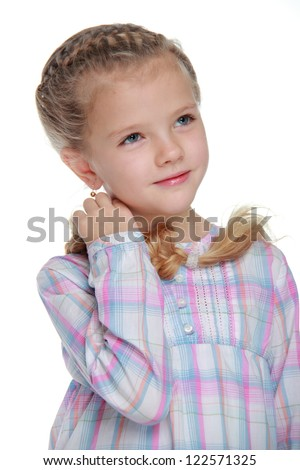 Beautiful fashion little girl over white background
