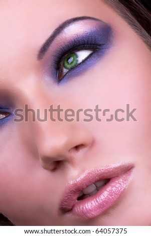 Beautiful fashion make-up of female eye, portrait