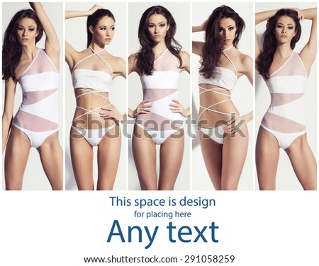 Beautiful fashion model posing in swimsuits in studio. Summer collection. - stock photo