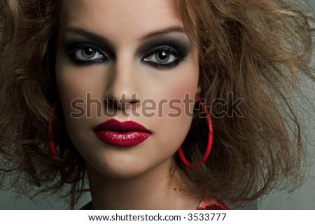 Beautiful Fashion Model with bright make up - stock photo