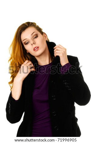 Beautiful fashion model with creative make-up isolated over white background