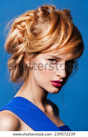 Beautiful fashion model with hairstyle. Beauty Portrait. - stock photo