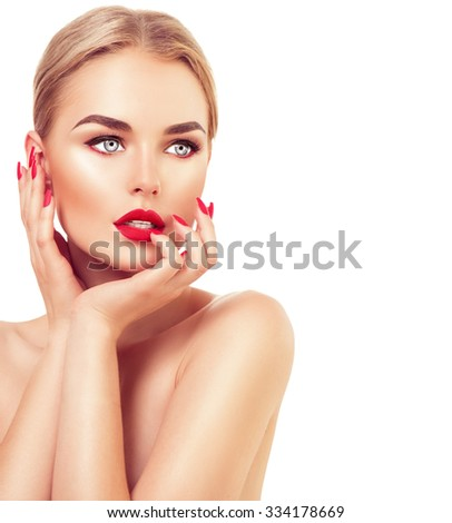 Beautiful fashion model Woman with blond hair, Red lipstick and nails. Portrait of glamour girl with bright makeup isolated on white background. Beauty female face close up with perfect make up - stock photo