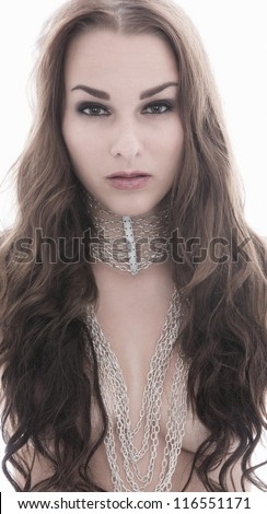Beautiful fashion pictures of models in studio - stock photo