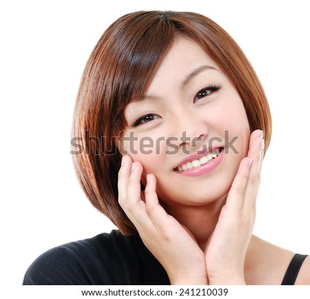 Beautiful Fashion woman face - stock photo