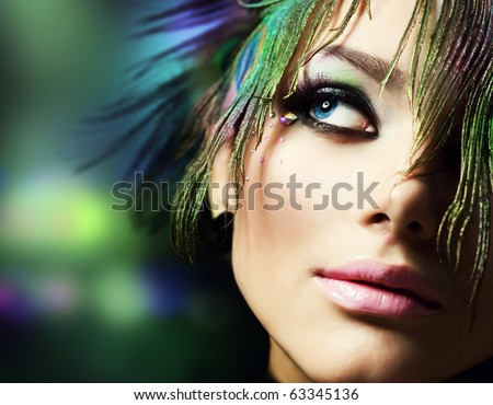 Beautiful Fashion Woman Face.Perfect Makeup - stock photo