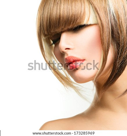 Beautiful Fashion Woman Hairstyle for Short Hair. Fringe Haircut. Beauty Model Girl portrait with hair style. Makeup. Isolated on a White Background. Fashion Woman portrait. Hair coloring  - stock photo