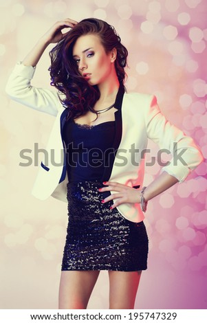 beautiful fashion woman in party clothes - stock photo