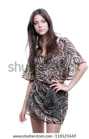 Zebra style dress vector
