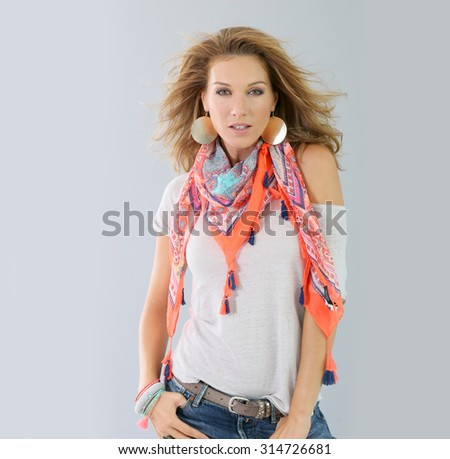 Beautiful fashion woman model, spring season