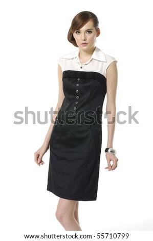 beautiful fashion woman standing up isolated - stock photo