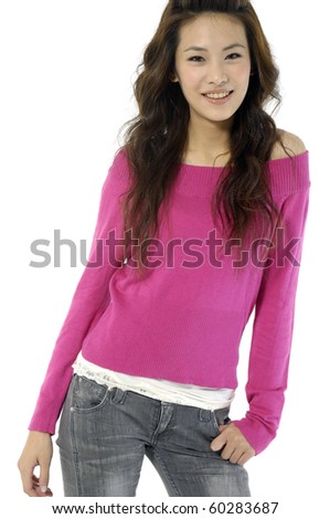 beautiful fashion woman standing up isolated