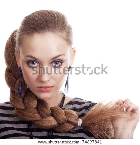 Beautiful Fashion Woman With Beautiful Braid Hair Isolated