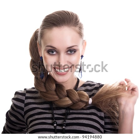 Beautiful Fashion Woman With Beautiful Braid Hair Isolated - stock photo