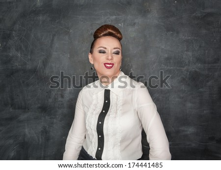Beautiful fashion woman with crazy grimace - stock photo